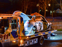A bus from JMB Travel has crashed into a house in Carbroe near Coatbridge, after hitting a car. The road was closed and an exclusion zone set up after fears of a gas explosion.<br /> <br /> © Dave Johnston / EEm