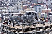 Yekaterinburg, Russia, 24/02/2007..New office block under construction in Yekaterinburg city centre...