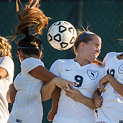 Irvine Valley's #17 Payton Purcell, #2 Johana Abarca(cq), #9 Virginia Hickman and #18 Christina Anderson attempt to block a free kick at the Fullerton vs. Irvine Valley women's soccer game held at Fullerton College on Friday, Nov. 6, 2015 in Fullerton, Calif. The Fullerton Hornets won the game 7-0.