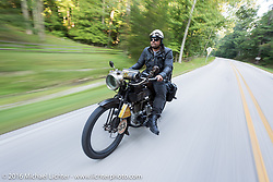 Andy Kaindl of Germany on his 4-cylinder 1915 Henderson class-2 motorcycle during the Motorcycle Cannonball Race of the Century. Day-4 ride from Bloomington, IN to Cape Girardeau, MO. USA. Wednesday September 14, 2016. Photography ©2016 Michael Lichter.