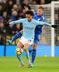 Leroy Sane of Manchester City under pressure from Marc Albrighton of Leicester City - Mandatory by-line: Alex James/JMP - 18/11/2017 - FOOTBALL - King Power Stadium - Leicester, England - Leicester City v Manchester City - Premier League