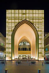 exterior night view of Dubai Mall, the world's largest, in Dubai United Arab Emirates