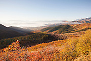 View of the mountains surrounding Park City in (Fall), Autumn showing colour, Utah, United States of America