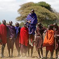 Africa, Kenya, Amboseli. Jumping Maasai Men of Amboseli.