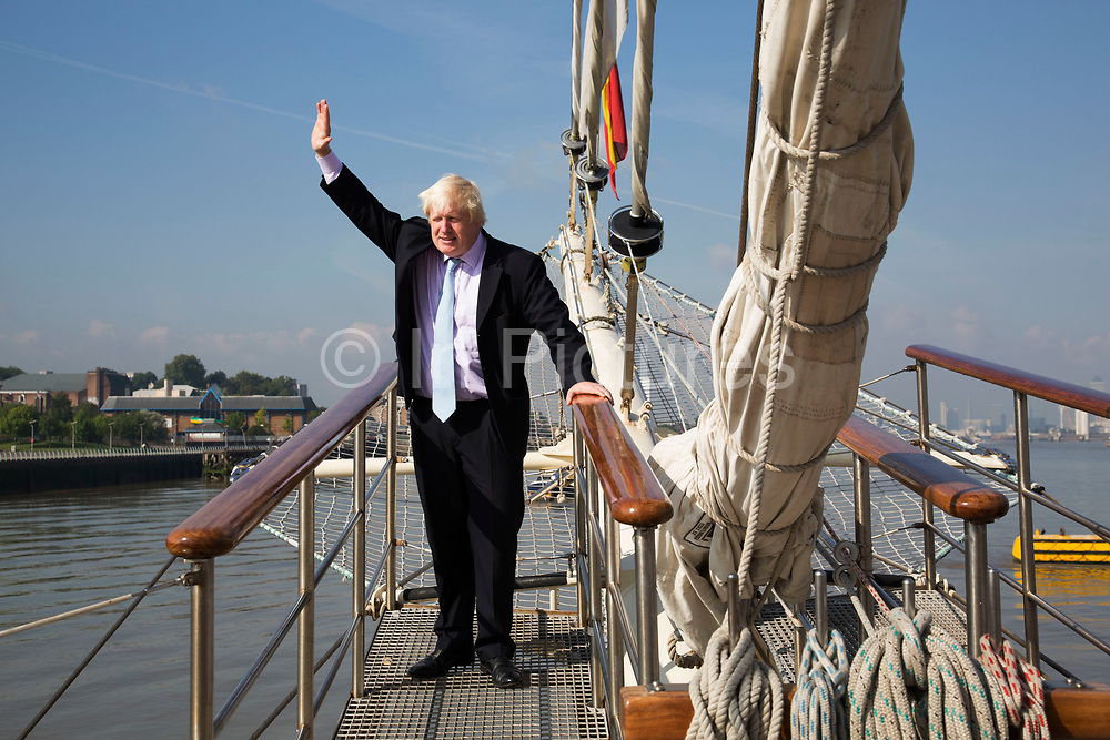 London, UK. Monday 8th September 2014. London Mayor Boris Johnson during a visit to Royal Greenwich Tall Ships Festival which is organized by RB Greenwich, aboard the vessel TS Tenacious. The Festival is included as a highlight of Totally Thames, the new month-long promotion of river and riverside events delivered by Thames Festival Trust.