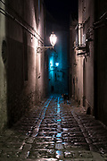 Lamps reflecting on stone cobbles at night in cobbled street alleyway and dog in Erice, Sicily, Italy