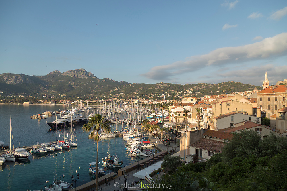 High angle view of harbor and buildings in city, Ajaccio, Corsica, France