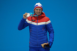 February 18, 2018 - Pyeongchang, South Korea - HENRICK KRISTOFFERSEN of Norway celebrates getting the silver medal in the men's Super-G skiing event in the PyeongChang Olympic Games. (Credit Image: © Christopher Levy via ZUMA Wire)