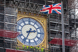 © Licensed to London News Pictures. 30/01/2020. London, UK. A dozen engineers inspect the only exposed clock face on the last day before Brexit which will happen at 11pm on 31st January 2020. A Brexit party on Parliament Square has been arranged for tomorrow night but Big Ben will not bong due to high costs. Photo credit: Alex Lentati/LNP