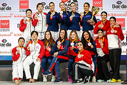 November 10, 2018 - Madrid, Madrid, Spain - France Team, Japan Team, Spain Team and Egypt Team of Female Kumite for Team tournament during the Finals of Karate World Championship celebrates in Wizink Center, Madrid, Spain, on November 10th, 2018. (Credit Image: © AFP7 via ZUMA Wire)