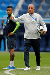 June 21, 2018 - Saint Petersburg, Russia - Brazil national team head coach Tite (C) and Gabriel Jesus during a Brazil national team training session during the FIFA World Cup 2018 on June 21, 2018 at Saint Petersburg Stadium in Saint Petersburg, Russia. (Credit Image: © Mike Kireev/NurPhoto via ZUMA Press)