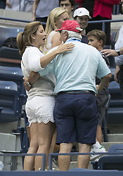 August 31, 2017 - Flushing Meadows, New York, U.S - Mirka Federer, wife of Roger Federer with is father in law, Robert Federer after  the match on Day Four of the 2017 US Open with Mikhail Youzhny at the USTA Billie Jean King National Tennis Center on Thursday August 31, 2017 in the Flushing neighborhood of the Queens borough of New York City. Federer defeats Youzhny, 6-1, 6-7(7-3), 4-6, 6-4, 6-2. First time Federer play consecutive 5 set matches. (Credit Image: © Prensa Internacional via ZUMA Wire)