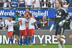 02.10.2011,  Imtech Arena, Hamburg, GER, 1. FBL, Hamburger SV (GER) vs Schalke 04 (GER), im Bild Mladen Petric (Hamburg #10) schiesst den Ausgleich zum 1-1 fuer Hamburg und jubelt mit der Mannschaft// during match at Imtech Arena 2011/10/02,Hamburg.EXPA Pictures © 2011, PhotoCredit: EXPA/ nph/  Witke       ****** out of GER / CRO  / BEL ******
