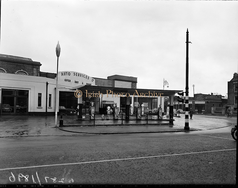 Exterior of Auto Services Garage, Harcourt Street, Dublin..1960..26.01.1960..01.26.1960..26th January 1960...Pictured for Irish Shell Ltd, was the Exterior of Auto Services Garage, Harcourt Street, Dublin. The garage had recently been refurbished and was operated under licence to Irish Shell Ltd. HARCOURT TRAIN STATION,
