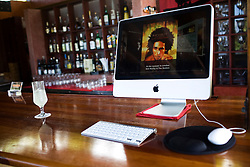 The Bushbar restaurant at the Geejam Hotel has a computer playing music all day and available to guests to surf the web. The Geejam is a luxury boutique hotel with a state of the art recording studio that has attracted famous musicians to make their albums.