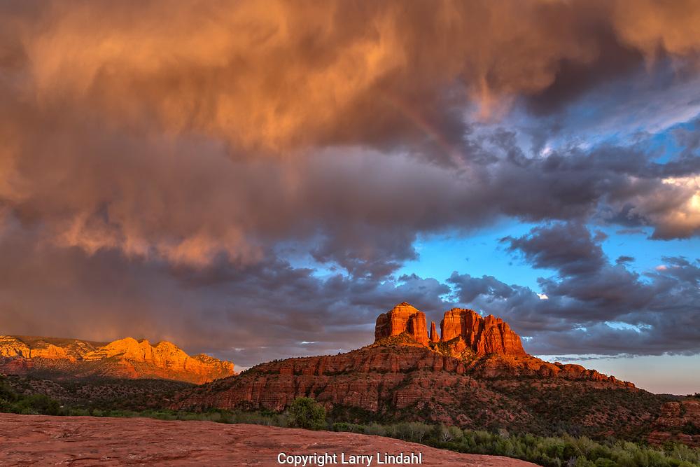 Cathedral Rock, rainbow, sunset, Coconino National Forest, near Sedona, Arizona,