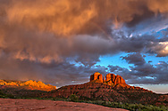 Cathedral Rock, rainbow, sunset, Coconino National Forest, near Sedona, Arizona,