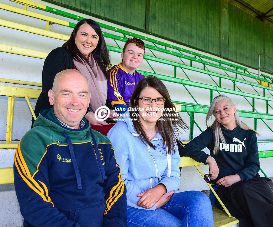 Pictured at the Trim v Wolfe Tones IHC Semi- Final match at Páirc Tailteann, Navan are Wolfe Tones supporters.<br /> <br /> Back from left: Niamh Seoighe and Joseph Sheppard.<br /> Front from left: Pat McMahon, Sarah McMahon and Michelle Sheppard.<br /> <br /> Photo: GERRY SHANAHAN-WWW.QUIRKE.IE<br /> <br /> 26-09-2020