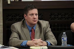 October 4, 2018 - Chicago, IL, USA - Chicago police Officer Jason Van Dyke watches the prosecution's closing statements during his trial for the shooting death of Laquan McDonald at the Leighton Criminal Court Building on Thursday, Oct. 4, 2018 in Chicago. (Credit Image: © Antonio Perez/Chicago Tribune/TNS via ZUMA Wire)