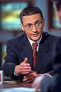 White House Chief of Staff John Podesta discusses the situation in Kosovo during NBC's Meet the Press April 11, 1999 in Washington, DC.