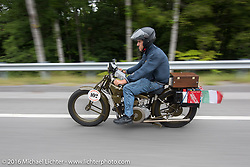Ciro Nisi of Italy riding his 1924 Moto Guzzi Sport during Stage 4 of the Motorcycle Cannonball Cross-Country Endurance Run, which on this day ran from Chatanooga to Clarksville, TN., USA. Monday, September 8, 2014.  Photography ©2014 Michael Lichter.