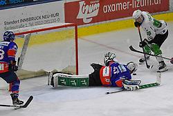 17.09.2021, Tiroler Wasserkraft Arena, Innsbruck, AUT, ICE, HC TWK Innsbruck Die Haie vs HK SZ Olimpija, Grunddurchgang, 1. Runde, im Bild v.l. Tom McCollum (HC TIWAG Innsbruck), Luka Kalan (HK SZ Olimpija Ljubljana) // during the bet-at-home ICE Hockey League Basic round 1th round match between HC TWK Innsbruck Die Haie and HK SZ Olimpija at the Tiroler Wasserkraft Arena in Innsbruck, Austria on 2021/09/17. EXPA Pictures © 2021, PhotoCredit: EXPA/ Erich Spiess