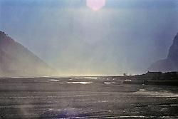 Sandstorm Along Dry Riverbed