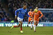 Portsmouth Midfielder, Jamal Lowe (10) runs with the ball during the EFL Sky Bet League 1 match between Portsmouth and Blackpool at Fratton Park, Portsmouth, England on 12 January 2019.