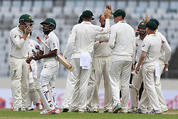 August 29, 2017 - Mirpur, Dhaka, Bangladesh - Australia's Lyon celebrates with team mates afterImrul Kayes's wicket during day three of the First Test match between Bangladesh and Australia at Shere Bangla National Stadium on August 29, 2017 in Mirpur, Bangladesh. (Credit Image: © Ahmed Salahuddin/NurPhoto via ZUMA Press)