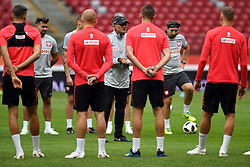 Last training of Poland National Team before tomorow friendly game with Lituania in Warsaw at the National Stadium, June 11, 2018..o/p Adam Nawalka Coach   talking with the team (Credit Image: © Maciej Gillert/Xinhua via ZUMA Wire)