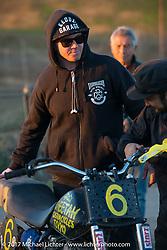 Justin Boyd of Sosa Metal Works at Brat Style's flat track racing at West Point Offroad Village. Kawagoe, Saitama. Japan. Wednesday December 6, 2017. Photography ©2017 Michael Lichter.