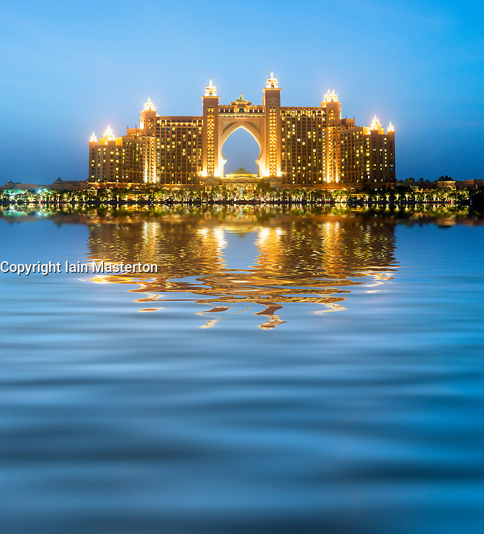 View of The Palm Atlantis luxury hotel on artificial Palm Jumeirah island in Dubai United Arab Emirates
