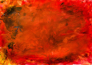 """Name: Halil<br /> Title: NA<br /> Colors: Red = anger, yellow = fear<br /> There is something hiding behind the painting. There is a ghost (""""shabah"""") behind it. It is the ghost of someone. (Who?) (No answer to that.) It is not me (says the artist), it is another girl who is afraid. The ghost frightens people, but it does not hurt them. (What does the girl in the picture say?) The girl (in the picture) says the ghost came to her. (What does the girl say to you about the ghost?) She told me, so we can help her."""