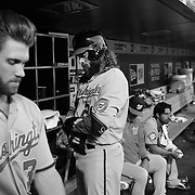 Bryce Harper, (left) and Jayson Werth, Washington Nationals, in the dugout preparing to bat during the New York Mets Vs Washington Nationals MLB regular season baseball game at Citi Field, Queens, New York. USA. 31st July 2015. Photo Tim Clayton