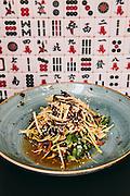 Shredded chicken salad, lettuce hearts, beansprouts, Sichuan pepper, strange flavor dressing at Ho Lee Fook restaurant, Central, Hong Kong