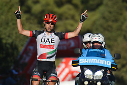 October 13, 2017 - Marmaris, Turkey - Diego Ulissi, an Italian road bicycle racer for UCI ProTour team UAE Team Emirates, wins the fourth stage - the 204.1 km Turkish Airlines Marmaris to Selcuk stage of the 53rd Presidential Cycling Tour of Turkey 2017..On Friday, 13 October 2017, in Marmaris, Turkey. (Credit Image: © Artur Widak/NurPhoto via ZUMA Press)