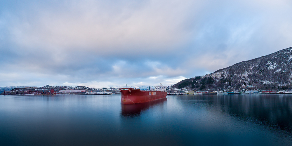 Aerial view of the bulk carrier 'Berge Kosciuszko' in the port of Narvik in Northern Norway.