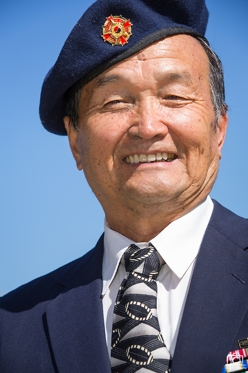 South Korean armed forces Warrant Officer Tong Yooh poses for a portrait during the Memorial Day Ceremony at Milpitas City Hall's Veterans Plaza in Milpitas, California, on May 26, 2014. (Stan Olszewski/SOSKIphoto)