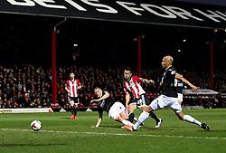 Nico Yennaris of Brentford scores the opening goal - Mandatory by-line: Robbie Stephenson/JMP - 05/04/2016 - FOOTBALL - Griffin Park - Brentford, England - Brentford v Bolton Wanderers - Sky Bet Championship