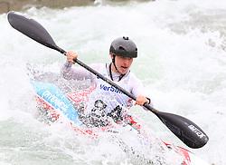 27.06.2015, Verbund Wasserarena, Wien, AUT, ICF, Kanu Wildwasser Weltmeisterschaft 2015, K1 men, im Bild  Iomhar Mac Giolla Phadraig (IRL) // during the final run in the men's K1 class of the ICF Wildwater Canoeing Sprint World Championships at the Verbund Wasserarena in Wien, Austria on 2015/06/27. EXPA Pictures © 2014, PhotoCredit: EXPA/ Sebastian Pucher