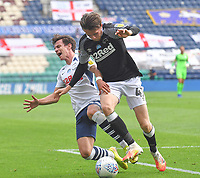 Preston North End's Josh Harrop battles with Derby County's Max Bird<br /> <br /> Photographer Dave Howarth/CameraSport<br /> <br /> The EFL Sky Bet Championship - Preston North End v Derby County - Wednesday 1st July 2020 - Deepdale Stadium - Preston<br /> <br /> World Copyright © 2020 CameraSport. All rights reserved. 43 Linden Ave. Countesthorpe. Leicester. England. LE8 5PG - Tel: +44 (0) 116 277 4147 - admin@camerasport.com - www.camerasport.com
