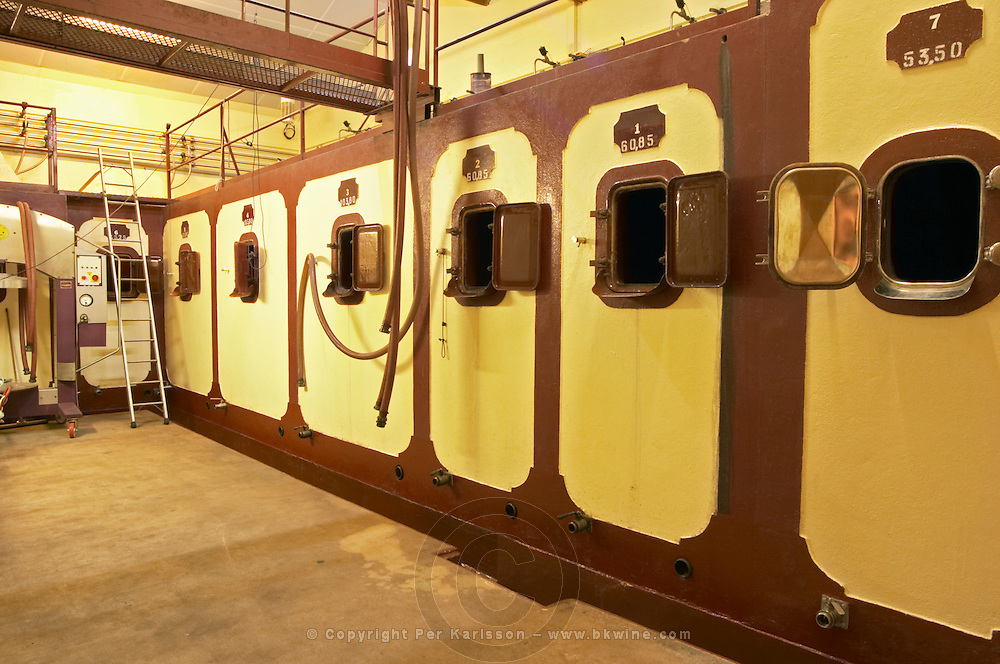 The concrete cuves - fermentation tanks - Chateau La Grave Figeac, Saint Emilion, Bordeaux