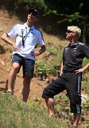 Slovenian coach Matjaz Zupan and assistant coach Gorazd Pogorelcnik at FIS Continental cup Ski-jumping Summer Kranj, on July 6, 2008, Kranj, Slovenia. (Photo by Vid Ponikvar / Sportal Images)<br /> <br /> / Sportida)