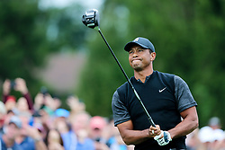 September 8, 2018 - Newtown Square, Pennsylvania, United States - Tiger Woods watches his tee shot off the 11th hole during the third round of the 2018 BMW Championship. (Credit Image: © Debby Wong/ZUMA Wire)