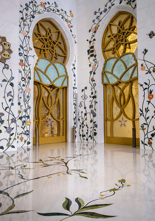 UNITED ARAB EMIRATES, ABU DHABI - CIRCA JANUARY 2017:  Interior Designs of the  Sheikh Zayed Mosque