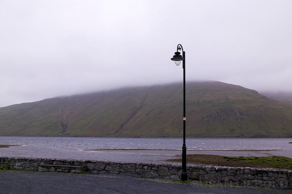 A lamp post on a foggy morning in Connemara, Ireland.