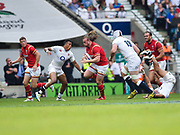 Wales' Kristian Dacey makes a break during the The Old Mutual Wealth Cup match England -V- Wales at Twickenham Stadium, London, Greater London, England on Sunday, May 29, 2016. (Steve Flynn/Image of Sport)