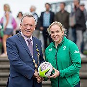27.07.17.          <br /> Ireland Women's Rugby captain Niamh Briggs was mobbed by young fans in Limerick earlier today (Thursday) as she arrived in the city by boat for the Women's Rugby World Cup trophy tour.<br /> <br /> Ireland Women's Rugby captain Niamh Briggs presented a signed rugby ball to Mayor of Limerick, Cllr Stephen Keary.<br />  <br /> <br /> <br /> <br /> The Limerick based garda and Munster fullback was escorted on the River Shannon by Limerick Marine Search and Rescue along with Nevsail kayakers as she made her way to Arthur's Quay jetty to be officially met by Mayor of Limerick, Cllr Stephen Keary. Picture: Alan Place