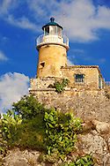 Light House on the top of The old citadel [ ?????? ??????? ] Corfu City, Greek Ionian Islands .<br /> <br /> If you prefer to buy from our ALAMY PHOTO LIBRARY  Collection visit : https://www.alamy.com/portfolio/paul-williams-funkystock/corfugreece.html <br /> <br /> Visit our GREECE PHOTO COLLECTIONS for more photos to download or buy as wall art prints https://funkystock.photoshelter.com/gallery-collection/Pictures-Images-of-Greece-Photos-of-Greek-Historic-Landmark-Sites/C0000w6e8OkknEb8