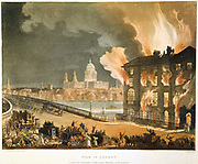 Albion Mills, on the south side of Blackfriars Bridge, burning, 3 March 1791, after set alight by arsonists. Built by Boulton and Watt, it was first steam-powered flour mill in London, (1786) Engineer for mill machinery: John Rennie (1761-1821) Architect: James Wyatt (1746-1813). From 'Microcosm of London', Rudolph Ackermann, London 1808-1810, illustrated Pugin and Rowlandson. Aquatint.